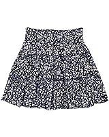 WDIRARA Women's Floral Print Ruffle High Waist Frill Trim Summer Mini Skirt Navy S