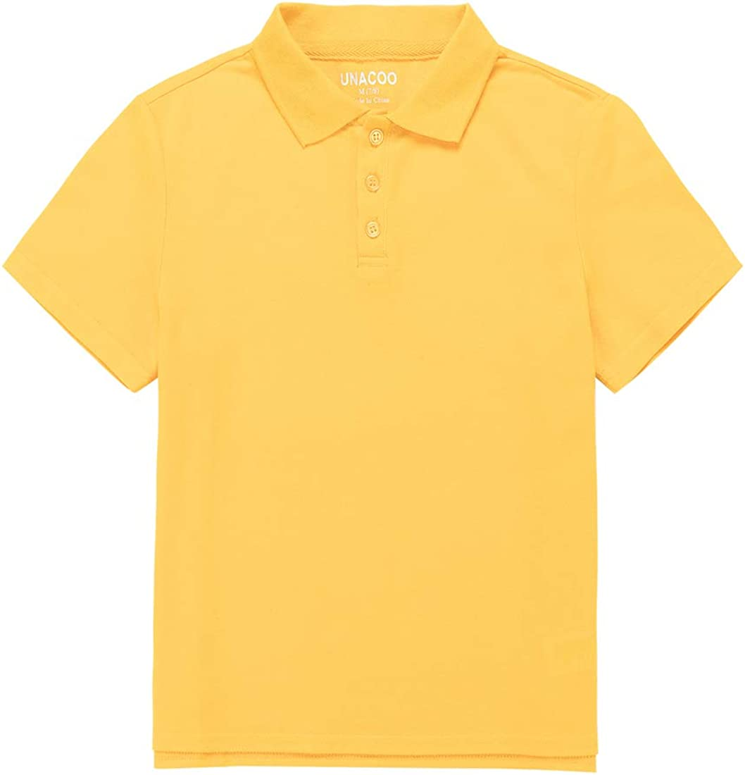 UNACOO Boy's and Girl's Short Sleeve Picot Polo Shirts School Uniforms Polo(3-12 Years)