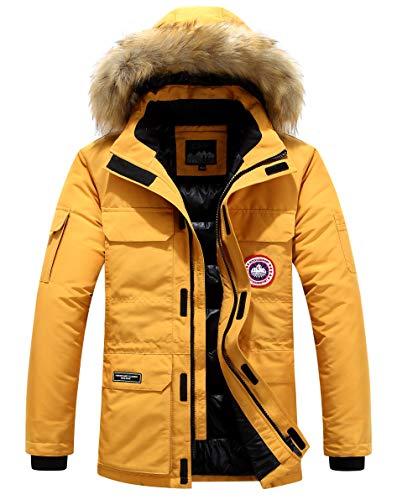 Herren Daunenjacke Winterjacke Fur Hooded Puffer Jacket Fell Pelzmantel Winterparka Pelzkragen Mit Kapuze Winter Warme Mäntel Jacken (Gelb,2XL)