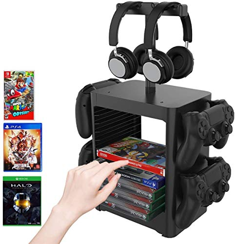 SN-RIGGOR PS5 Game Disc Storage Stand/PS5 Headset Mount/Headphone Stand/Controllers Organizer Stand for PS5/Nintendo Switch/PS4/Xbox Series X S/Xbox One/Video Game Disk Storage Organizer