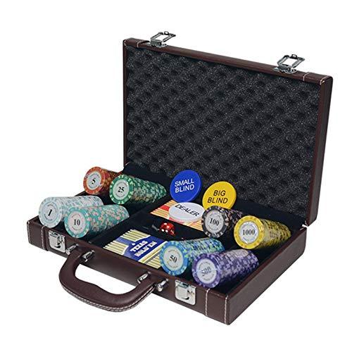 200pcs / 300pcs Juegos de Fichas de Póquer de Casino Texas Hold'em Crown Monte Carlo Clay Juegos de Fichas de Póquer Poker PU Maleta Bingo Caja de Monedas de Metal,A