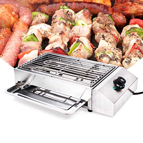 Portable Electric Grill Smokeless Electric Indoor Searing Grill Adjustable Temperature Control Food Griddle Stainless Steel Restaurant Teppanyaki Grill Adjustable Temperature from 50°c to 300°c