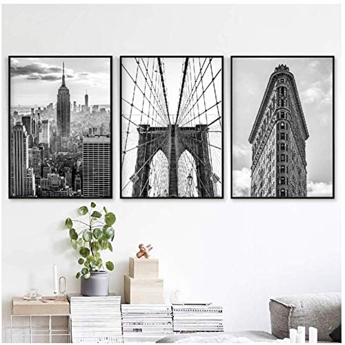 A&D New York City Schwarz Weiß Poster und Drucke Brooklyn Bridge & Flat Iron Fotos Wandkunst Leinwand Gemälde Bilder Home Decor-50x70cmx3pcs-No Frame