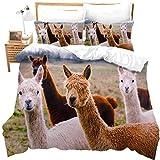 zzkds Juego de ropa de cama con diseño de animales en 3D, diseño de llama, alpaca, para niños, jóvenes, funda de edredón ultra suave, con diseño de animales argentinos, 3 piezas, sin ComforterKing