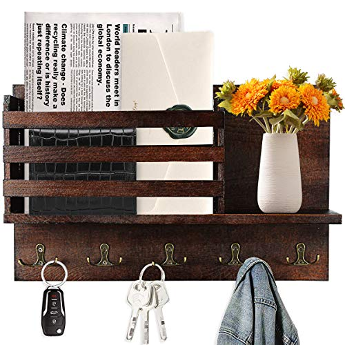 Key Holder for Wall with Shelf Wooden Mail Organizer Sorter with 5 Double Key Hooks and Floating...