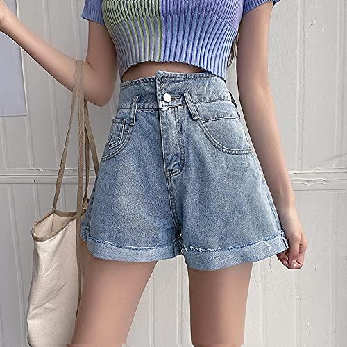 ShFhhwrl alla Moda Semplice e generosoPantaloncini da Donna in Denim Sexy da Spiaggia Pantaloncini di Jeans A Vita Alta Donna Casual Street
