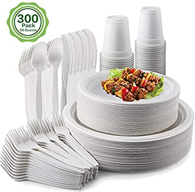 300Pcs MCIRCO Disposable Dinnerware Set - Compostable Sugarcane Cutlery Eco-Friendly Tableware - 100 Biodegradable Paper Plates - 50 Paper Forks, Knives, Spoons and Cups - Combo for Party, Camping