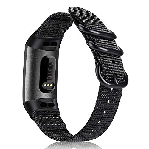 Fintie Bands Compatible with Fitbit Charge 4 / Fitbit Charge 3, Soft Woven Nylon Sports Band Replacement Strap Compatible with Fitbit Charge 3 and Charge 3 SE Fitness Activity Tracker, Black