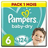 Pampers Baby Dry Couches Taille 6 (13-18 kg), 124 couches, Pack 1 Mois