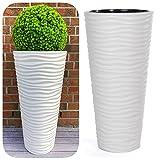 MELTOM Vaso sottile rotondo effetto 3D  Onde  Colore: bianco con...