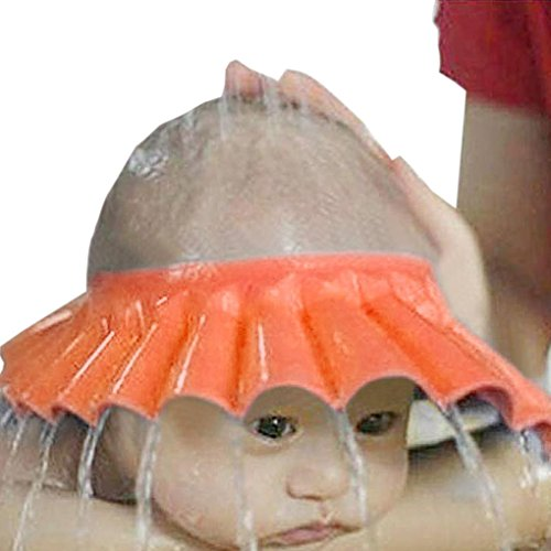 Kolylong Ajuster Shampooing Coffre-Fort ImperméAble EVA Douche Kids Douche Bain Shampooing Cap Bain Protection Souple Chapeau Pour BéBé Enfants Kids (Orange)
