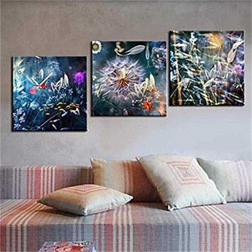 MKJ004 Moderne minimalistische creatieve licht moderne stijl canvas schilderij bloem wandklok 3 Stks
