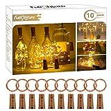 Guirnaldas Luces LED con Corcho 2m 20 LED, Luces de Botella de Vino Decorativas Cobre Luz para Romántico Boda, Navidad, Fiesta, Hogar, Exterior, Jardín,Blanco Cálido, Pack de 10