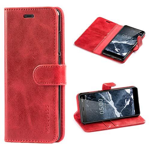 Mulbess Custodia per Nokia 5.1, Cover Nokia 5.1 Pelle, Flip Cover a Libro, Custodia Portafoglio per Nokia 5.1, Vino Rosso