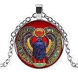 Collar con colgante escarabado egipcio Pharaon Sagrado Sagrado, cadena de acero D1.