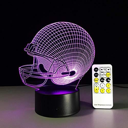 3D illusie lamp met capuchon voetbal nachtlicht LED bureaulamp met 7 kleuren USB sensor voor slaapkamer kinderen cadeau kerst verjaardag slapen