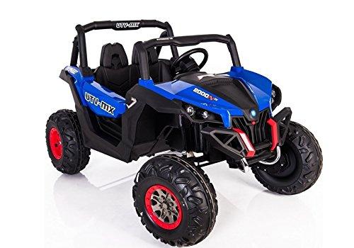 Buggy BATERIA Infantil, 2 PLAZAS, 4 Motores, Azul, Mando RC