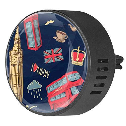 BestIdeas 2 clips de ventilación ambientador de coche con corona de autobús Reino Unido Big Ben caja telefónica, aromaterapia difusor de aceite esencial