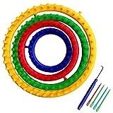 Noblik - Juego de 4 telares circulares de plástico para tejer con agujas de tejer y ganchillo