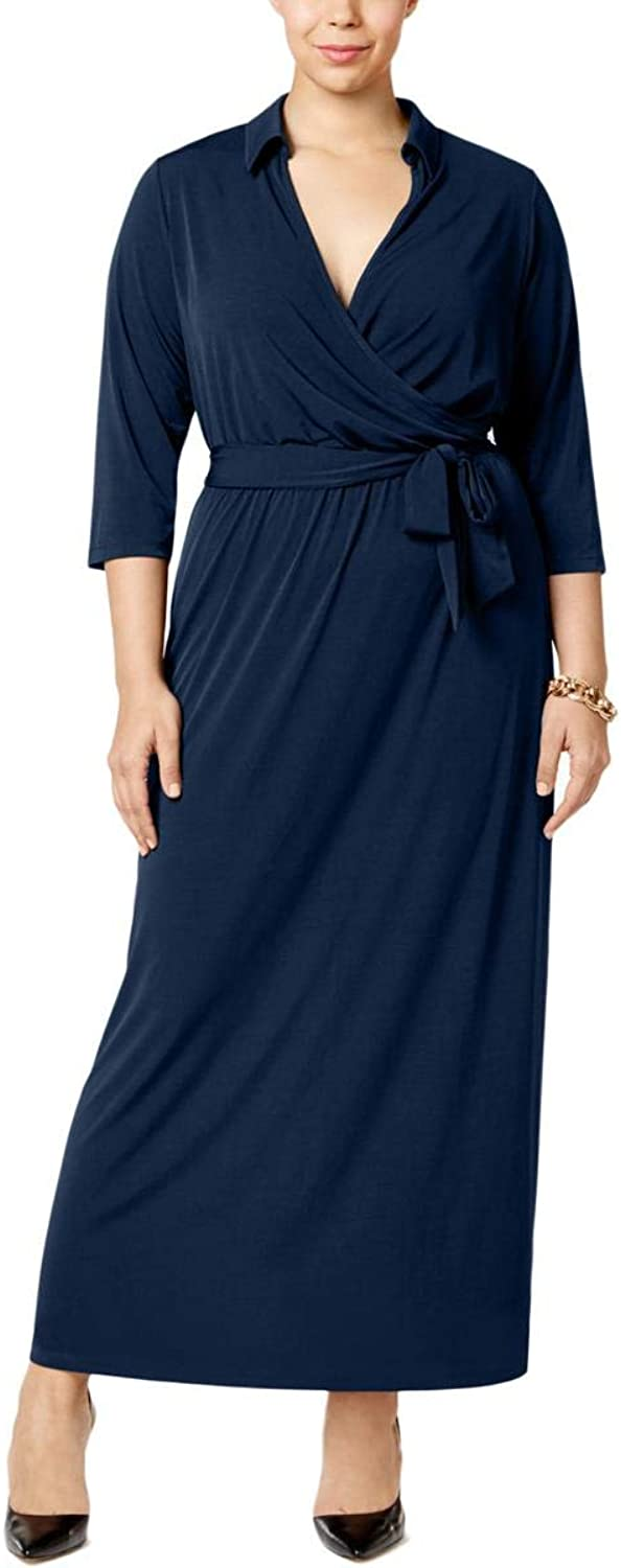 NY Collection Womens Plus Matte Jersey Surplice Evening Dress