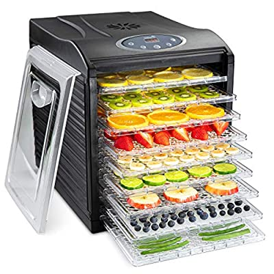 Ivation 9 Tray Countertop Digital Food Dehydrator Drying Machine 600w with Preset Temperature Settings, Auto Shutoff Timer and Even Heat Circulation for Beef Jerky, Fruits, Vegetables & Nuts