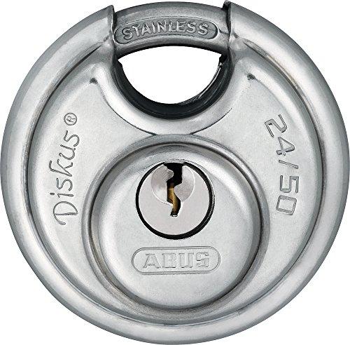 ABUS Diskus® Vorhängeschloss 24IB/50 aus Edelstahl - mit 360° Rundumschutz - zur Sicherung bei starken Witterungseinflüssen - 20317 - Level 7 - Silber/Blau