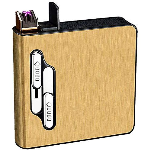 seiyishi タバコ シガレットケース タバコケース 20本収納 電子ライター内蔵 USB充電式 防風 煙草ケース 防水 防湿 メンズ レディース 煙草 ギフト SY-JNB-01 (ゴールド)