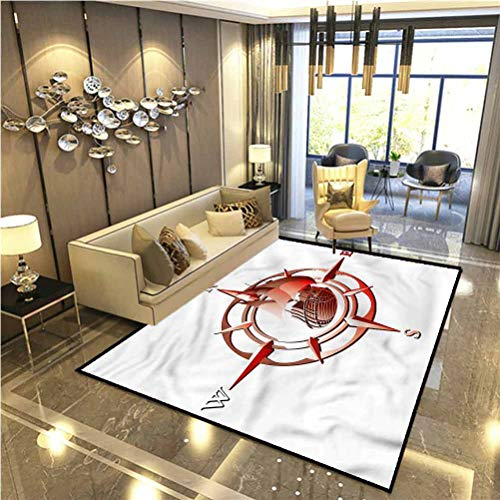 Compass Home Dynamics Rugs Non Slip Rug Red Windrose with Ship Indoor-Outdoor Carpet 6.5 x 8 Ft