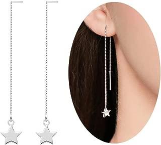 Sterling Silver Threader Tassel Earrings Star Drop Dangle Long Charm Earrings A Pair