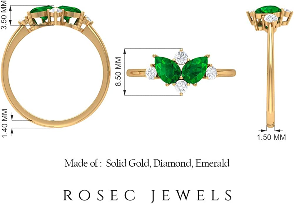 0.45 Ct Pear Shape Emerald Engagement Ring, SGL Certified Diamond Cluster Wedding Ring, Unique Diamond HI-SI Color Clarity Statement Ring for Women, 14K Gold