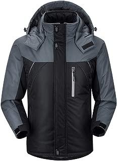 Leoie Men Thick Windbreaker for Men Outdoor Hiking Waterproof Warm Winter Jacket Plus Size Windproof Snowboarding Coats for Men Hooded Zipper Men Jackets for outdoor Big Size for Men Male Boys Gay Color