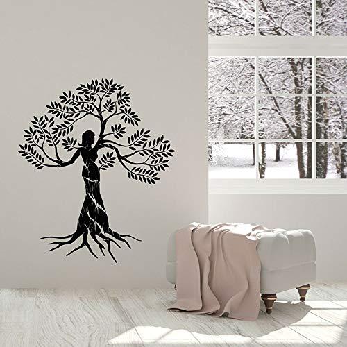 Calcomanía de pared creativa árbol de mujer Natural salud ecológica ventana vinilo pegatina salón de belleza meditación decoración de interiores