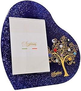 SOSPIRI VENEZIA - Marco de fotos con corazón de mesa, árbol de la vida, de cristal con murrinas de Murano y oro de 1ª generación, fabricado a mano , 30 x 30 cm - dimens. Foto 13 x 18 cm (azul, 30 cm)