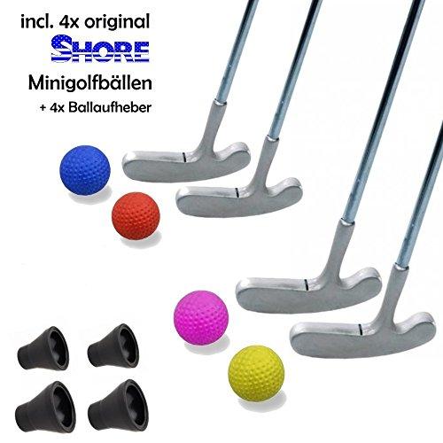 Minigolfset FAMILY XL - 12-teilig (mit 4x original SHORE Minigolfball-Anlagenball) und 4x Minigolf-Pick-Up