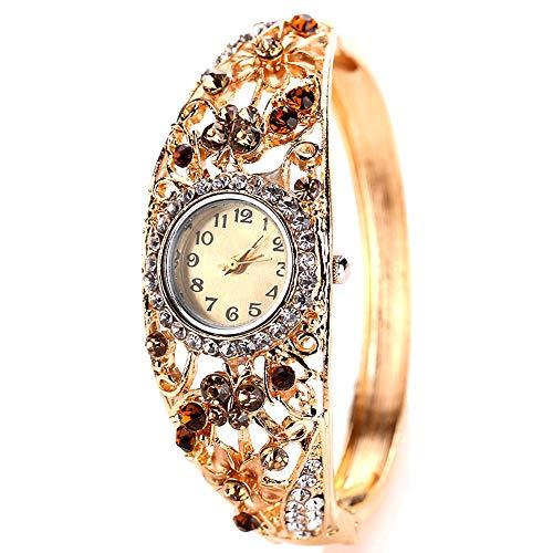 Moligin (Amarillo) Brazalete de Flor de Flores de Cristal Mixto Relojes con botón batería Mujeres Reloj analógico Cuarzo Movimiento Relojes de Pulsera con aleación Brazalete