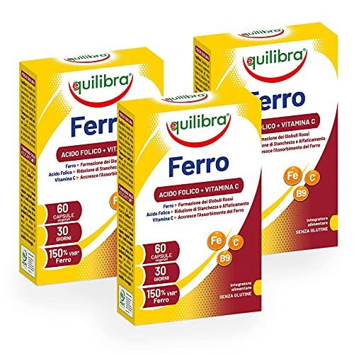 Equilibra Integratori Alimentari, Ferro con Acido Folico + Vitamina C, Integratore a Base di Ferro, per la Normale Funzione dei Glubuli Rossi e dell'Emoglobina, 3 Pezzi da 60 Capsule Vegetali