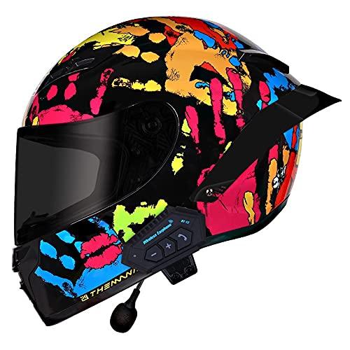 RMBDD Dot/ECE Casco Integral para Bluetooth Motocicleta Casco Impermeable para Motocicleta Casco Anticolisión con Cola Cuero de PU Lente de PC Adulto Todo el año Unisex (57~62CM)