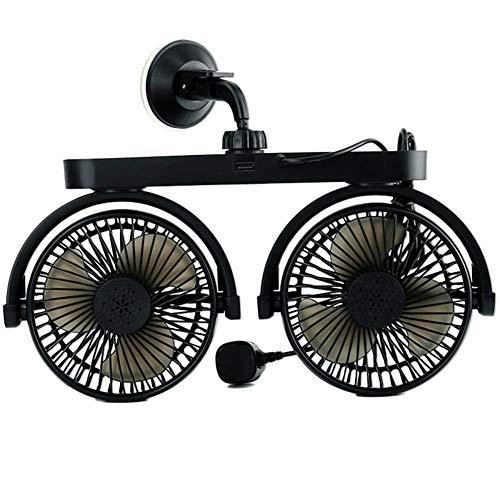 FairySu Ventilador de Coche con Doble Cabeza de Velocidad Variable giratoria 5 Palas Ventilador de enfriamiento de Aire automático