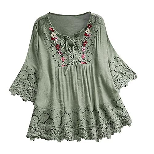 Vintage Lace Patchwork Bow V-Neck Three Quarter Blouses Top Blue Pink Elegant Summer Shirts Blouse Plus Size XXL
