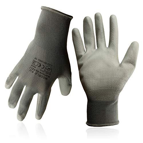 KELI FRANCE - K•Protect - 5 Paires de Gants de Protection polyuréthane PU à Usages Multiples, Gant de Protection avec Préhension et Confort Supérieurs, Gris,Taille 10 (1 Lot de 5 Paires)