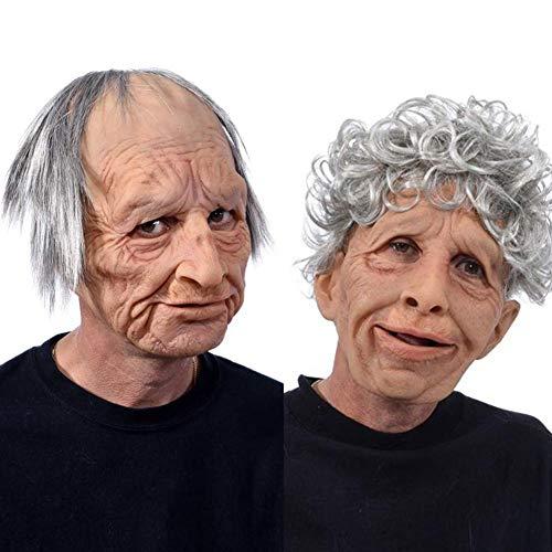 Yoouo 1/2 PCS Latexmaske, Alte Mannmaske Halloween Gruselige Falten