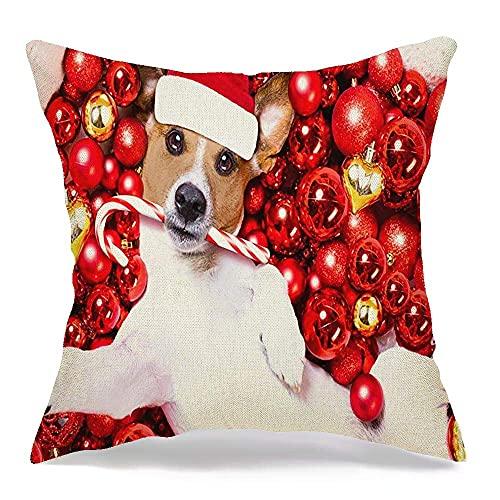 Funda de almohada decorativa de lino para perro Jack Russell Terrier, nuevo en reposo, Claus, selfie, animales, adviento, vida silvestre, felices fiestas, cómoda funda de cojín cuadrada para sofá, cam