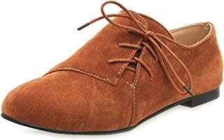 Bonrise Women's Suede Casual Oxford Shoes Retro Lace-up Round Toe Flat Low Heel Classic Oxfords Loafers Black