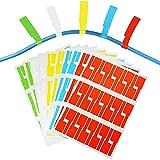 BUZIFU 300 Pezzi Etichette Impermeabili per Cavo Resistente Etichette per Cavi Autoadesive Resistente Marcatore 5 colori per Organizzare il Cavo di Computer/Ufficio/Casa (10 Fogli)