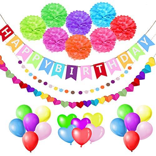 esafio Multicolor Geburtstagsdeko Dekoration Supplies Kit, mit 18 Stück Geburtstag Ballon, Happy Birthday Girlande Banner Set für Kleinkinder Mädchen Boy Lady Birthday Party, Hochzeit