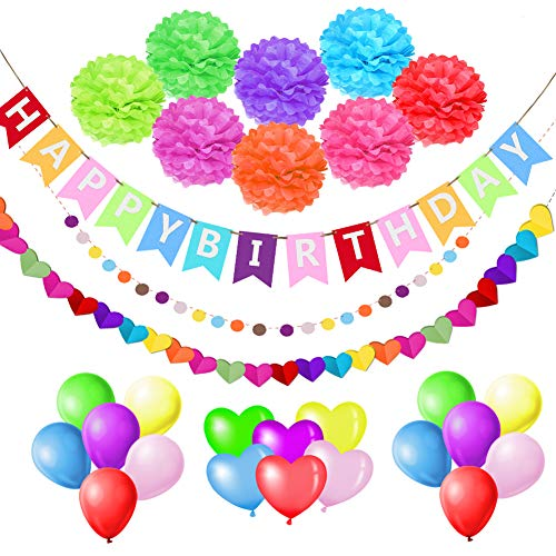esafio Decoraciones Cumpleaños, Feliz cumpleaños Decoración Globos Garland Banderas Conjunto 41 Piezas Suministros de decoración Material Seguro para niñas, Hombre