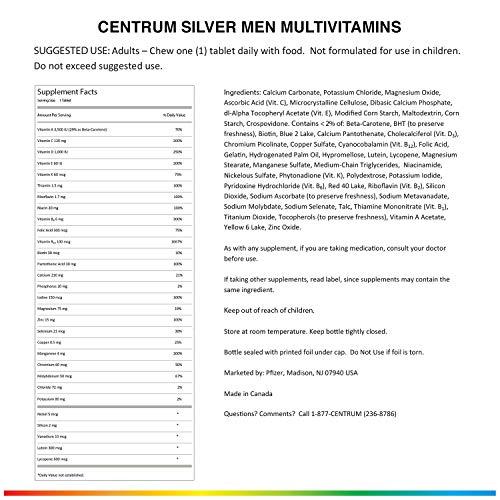 Centrum Silver Men (200 Count) Multivitamin / Multimineral Supplement Tablet, Vitamin D3, Age 50+