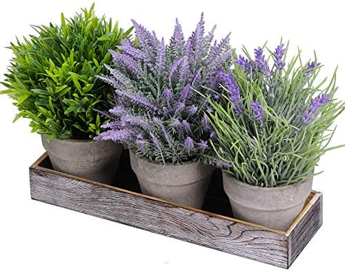 Set of 3 Artificial Lavender Flower Grass Greenery Mini Potted Plants Assortment with Wood Planter product image