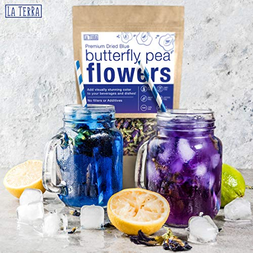 La Terra Premium Dried Blue Butterfly Pea Flower 3.5 OZ 100% Raw with No Fillers or Additives, Gluten, Dairy, Caffeine, Sugar Free, Vegan, Keto Friendly Hot and Cold Beverages