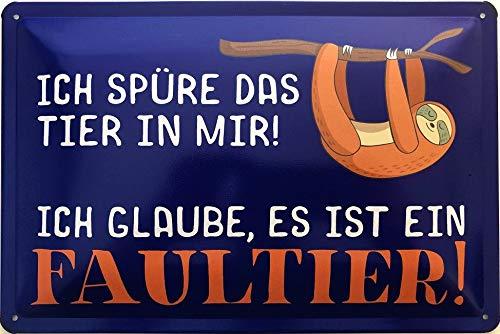 Deko7 blikken bord 30 x 20 cm Spreuk: Ich voele das Rier in Mir! Ik ben ervan overtuigd dat het een luier is.